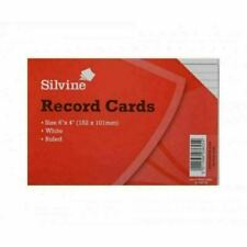 """Silvine 6x4"""" Record Cards Lined with Headline, Pack of 100 - White"""