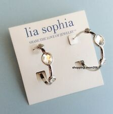 "Lia Sophia ""Michael"" by Debbie Silver Tone w/Cut Crystals 1 1/2"" Hoop Earrings"