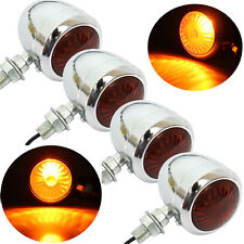 4X Chrome Metal Motorcycle Turn Signals Light Indicators For Harley Cafe Racer