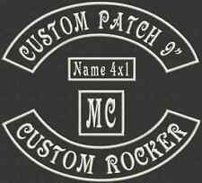 Set of 4 Piece Custom  Embroidered Rocker Patch, Tag, Label, Badge 9""