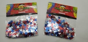 2 Packs ~ Patriotic Red, Silver, and Blue Metallic Star Confetti - 0.5 Ounces ea