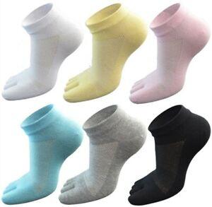 6 Pack Women 100%Cotton Five Finger Toe Socks Ankle Sport Low Cut Breathe Summer