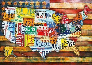 "ROAD TRIP U.S.A. 300 LARGE PIECE JIGSAW PUZZLE BUFFALO ~ 21.25""x15"" ~ EUC"