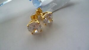 YELLOW GOLD OVER SOLID 925 STERLING SILVER ZIRCONIA  STUD EARRINGS MADE IN ITALY