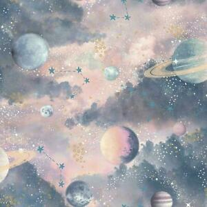Arthouse Glitter Planets Wallpaper Purple Pink Blue Shimmer Cosmos Kids Vinyl
