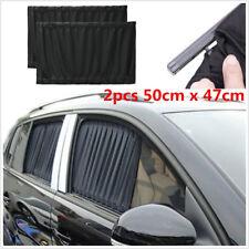 2pcs 50cm x 47cm ADJUSTABLE VIP CAR WINDOW CURTAIN SUNSHADE UV PROTECTION Black