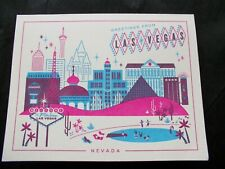 12 - Retro Old Las Vegas Themed Greeting Cards Greetings Pink Blue Hello Lucky