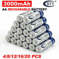 20pcs BTY AA/AAA Rechargeable Battery Recharge Batteries 1.2V 3000/1000mAh Ni-MH