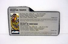 VINTAGE ALPINE FILE CARD G.I. Joe Action Figure FRENCH GREY / AWESOME SHAPE 1985