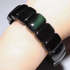 256.5Ct Natural Mexican Rectangular Rainbow Obsidian Bracelet UBRO4