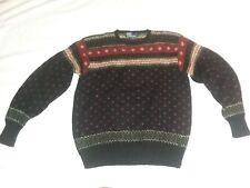 Ralph Lauren Polo Wool Sweater L Women's Hand Knit Fair Isle 100% Vintage