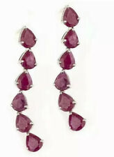 Ruby And platinum Over Sterling Silver Earings, Retail Replacement Value $1,950