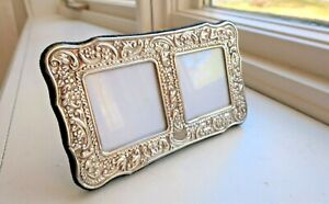 VINTAGE STERLING SILVER DOUBLE PICTURE FRAME ORNATE REPOUSSE ENGLAND FLORAL