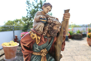 Heiliger Christophorus Jesus Kind Tirol alte Holz Figur Schnitzerei geschnitzt