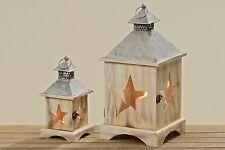Laterne Manu Windlichthalter Stern Weihnachten  H24-40cm Holz Eisen  2er Set