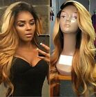 Lace Front Heat Resistant Full Hair Wigs Long Two Toned Blonde Ombre Dark Root