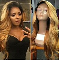 New Dark Root Blonde Mixed Lace Front Wig Synthetic Heat Wig for Black Women