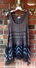 Intimately FREE PEOPLE Voile and Lace Trapeze Slip Dress Size Small- Brown Ombré
