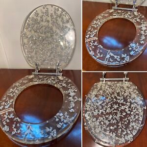 NEW! Mid-Century Style Clear Lucite Acrylic Silver Foil & Chrome Toilet Seat