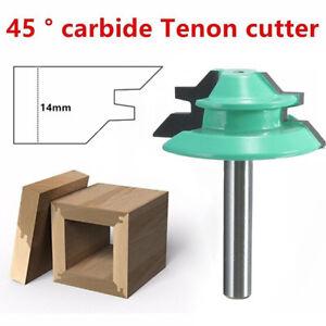 45 Degree Lock Miter Router Bit Woodwork Tenon Cutter Tool 1/4'' 1/2'' Shank YW