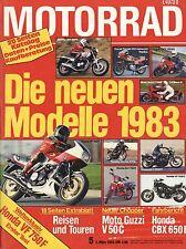 Motorrad 5 83 2.3.1983 Honda VF 750 F CBX 650 E Moto Guzzi V 50 C Yamaha RD 250