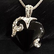 "Heart Pendant Necklace 18"" Long Beautiful Estate Sterling Silver Onyx Rhinestone"