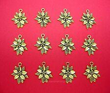 12 pcs Ant. Goldtone Christmas Poinsettia Charms Pendants Earrings / Necklaces