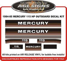 1984 1985 MERCURY 115 hp Outboard Decals reproductions  also 90 hp