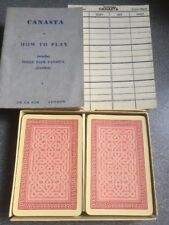 vintage CANASTA playing card game De La RUE rules scorecards red backs VGC