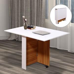 Folding Dining Table Mobile Writing Desk Workstation w/ Casters Teak Colour