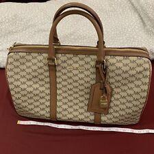 MICHAEL KORS Extra Large Travel Weekender Duffle Bag Beige Brown Logo Monogram