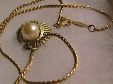 """Vintage 14"""" Gold Plated  Necklace, signed Napier, Gold Tone Pendant Faux Pearl"""