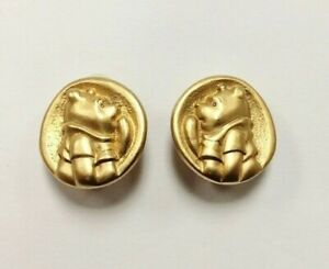 "GENUINE ""DISNEY"" SIGNED GOLD ""WINNIE THE POOH"" PONDERING CLIP ON EARRINGS D411"