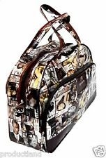 VOGUE FASHION PRINT SHOPPING TRAVELLING DUFFEL BAG GLOSSY PU LEATHER