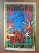 vintage Kung Fu one with Nature Black light  Poster orig unused 1970s  5231