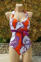 Maillot de bain 1 pièce de RASUREL 3D FR 90D /INT 75D  neuf blanc orange