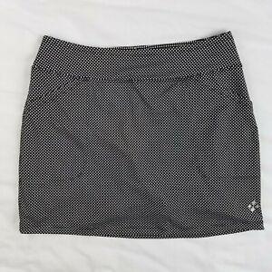 JoFIT Golf Tennis Skirt / Skort Black with White Polka Dots Snap Pockets Size M