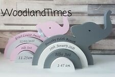 Elephant  personalised stacker, new baby gift, boy or girl, nursery decor, new