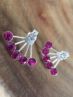 925 Sterling Silver Pink Crystal Front to Back Ear Jackets Earrings