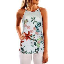 Womens Ladies Sleeveless Vest Tank Tops Summer Beach Floral Blouse Loose T Shirt Dark Blue XL