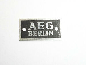 Altes Typenschild Markenschild AEG Berlin Radio Beschriftung Ersatzteil !