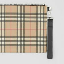Genuine BURBERRY Vintage Check E-canvas and Leather Zip Slim Pouch Wrist Strap