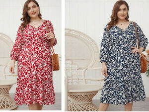 Ladies Cotton plus size  Mid sleeve dress    size can fit 12 14 16 18 20