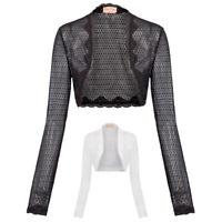 Women Lady Long Sleeve Cropped Open Front Bolero Shrug Cardigan Jacket Mini Tops