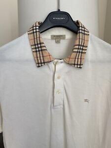 Vintage 90s Burberry Logo Nova Check Short Sleeve Polo Shirt Large Slim M