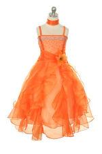 Attractive Falling Rhinestone Ruffle Organza Sequined Satin Flower Girl Dress