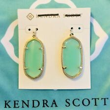 KENDRA SCOTT Green Drop Earrings ELLE Translucent Chalcedony Glass Gold Plated