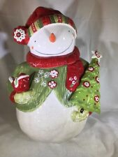 Homespun by Cracker Barrel Snowman Large Cookie Jar Lori Siebert Holiday