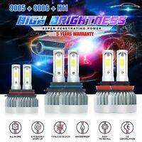 9005+9006+H11 LED Headlight Hi/Low Beam Bulb 6000K Fog Light Sets 5415W 812250LM