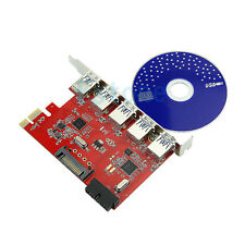 New 5 Port  PCI-E PCI Express to USB3.0 + 20pin HUB Card Adapter for WIN 7 8 XP